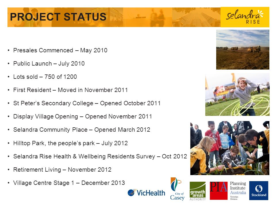 PROJECT STATUS Presales Commenced – May 2010 Public Launch – July 2010