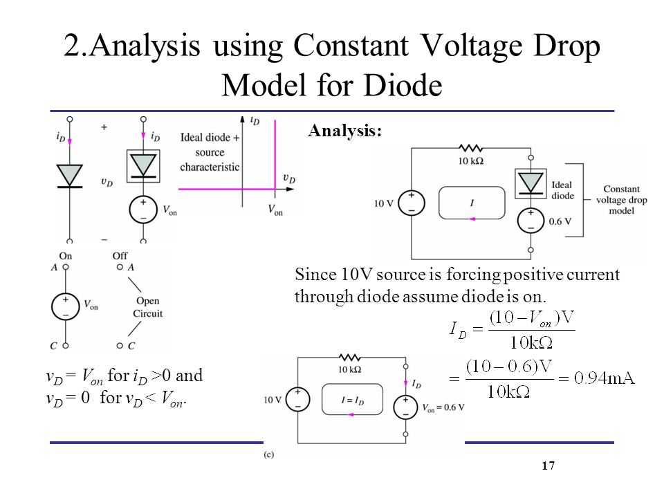 2.Analysis using Constant Voltage Drop Model for Diode