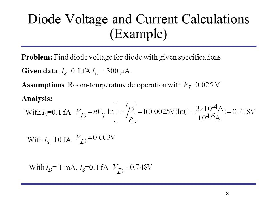 Diode Voltage and Current Calculations (Example)