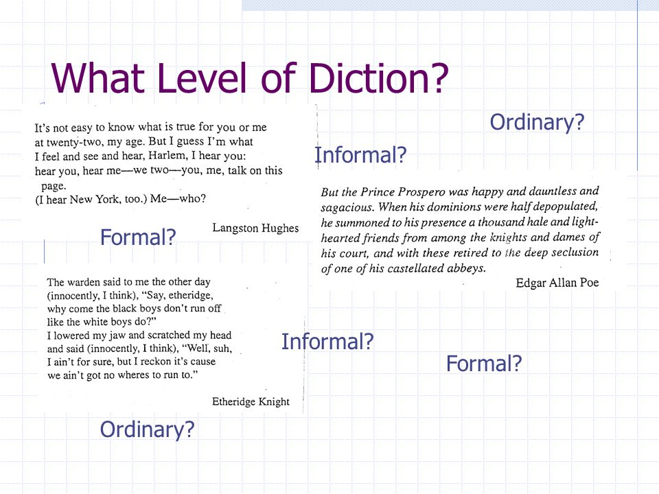 What Level of Diction Ordinary Informal Formal Informal Formal