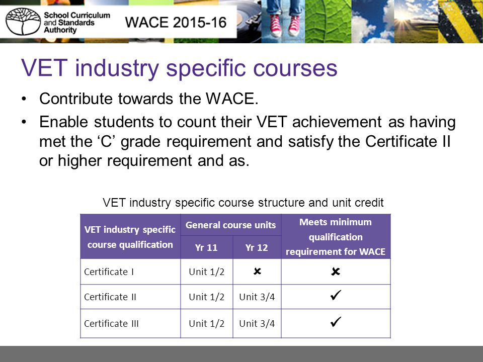 VET industry specific courses