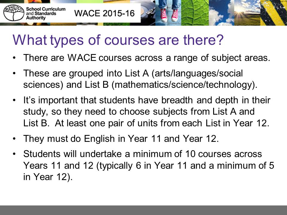 What types of courses are there