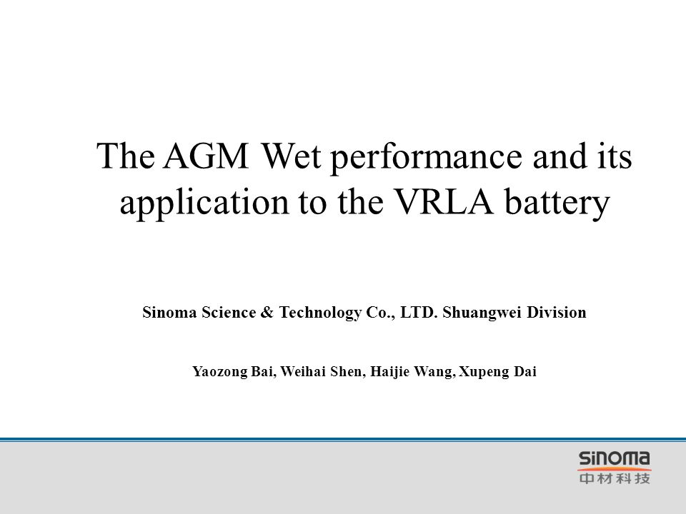 The AGM Wet performance and its application to the VRLA battery