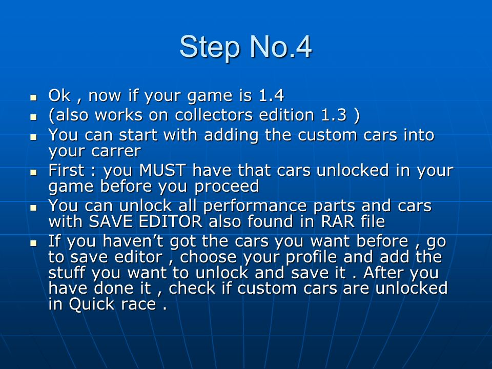 Step No.4 Ok , now if your game is 1.4