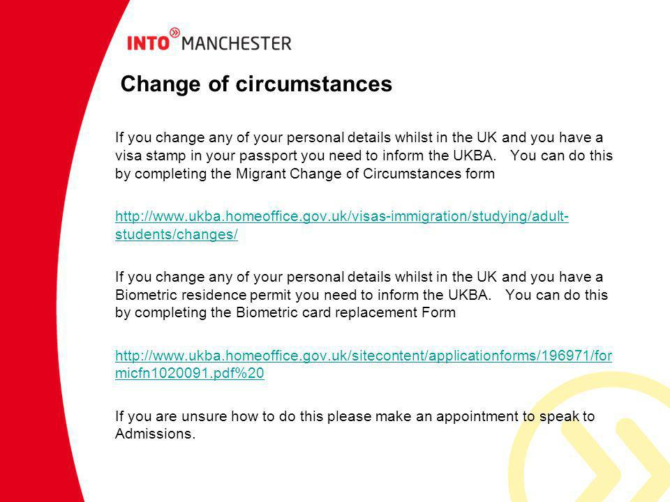 Change of circumstances