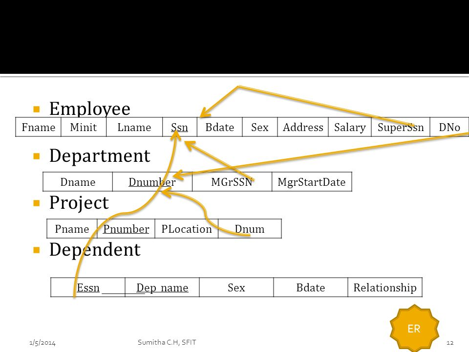 Employee Department Project Dependent Fname Minit Lname Ssn Bdate Sex