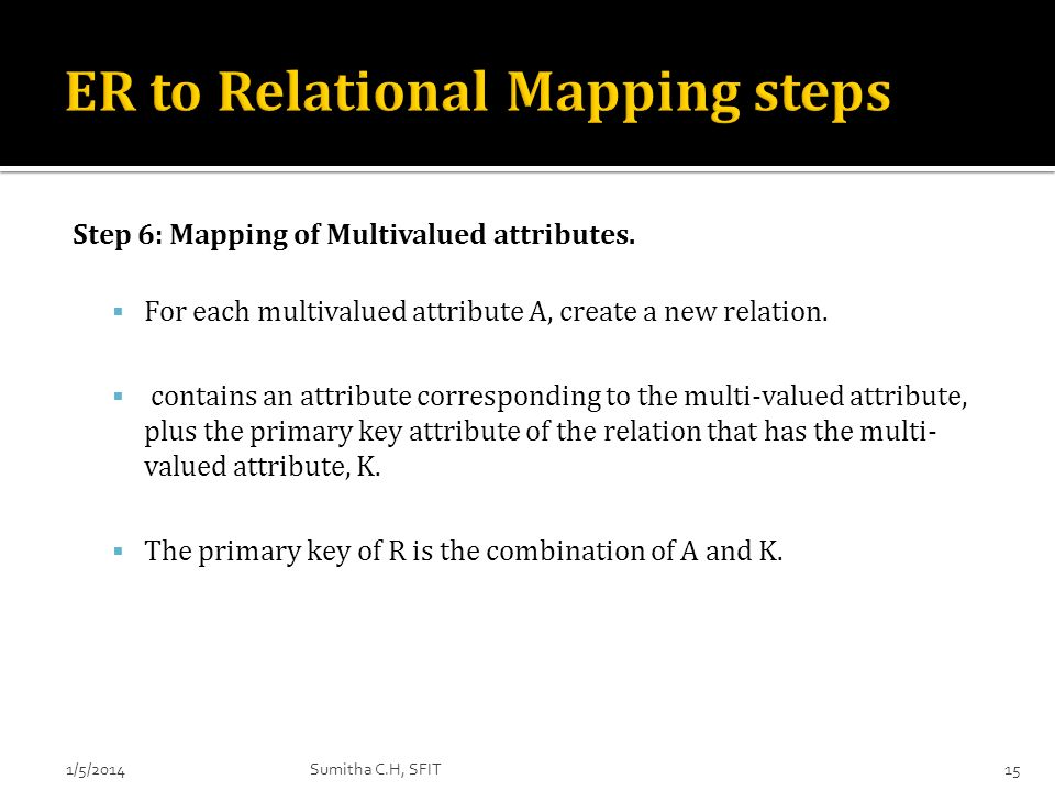 ER to Relational Mapping steps