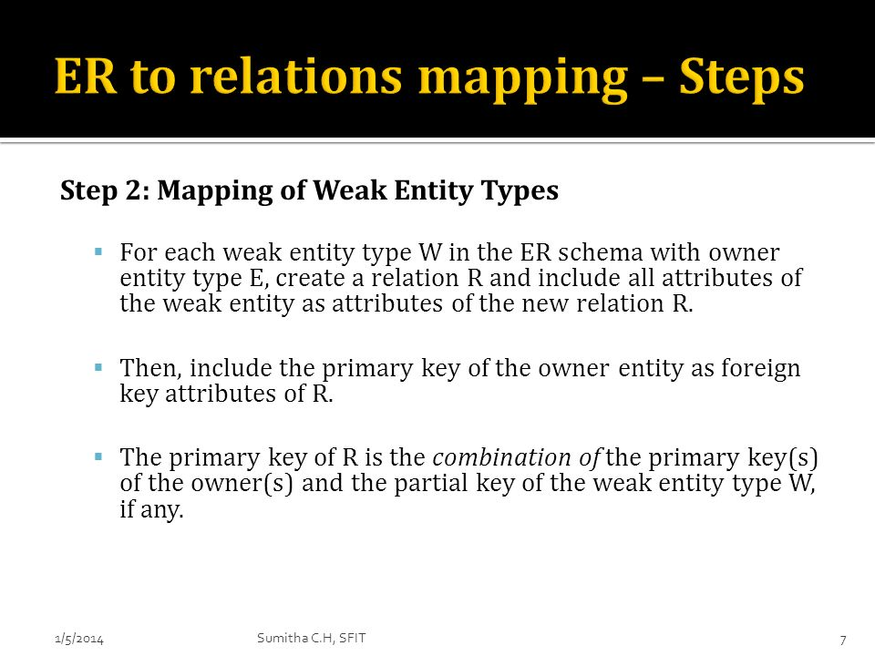 ER to relations mapping – Steps