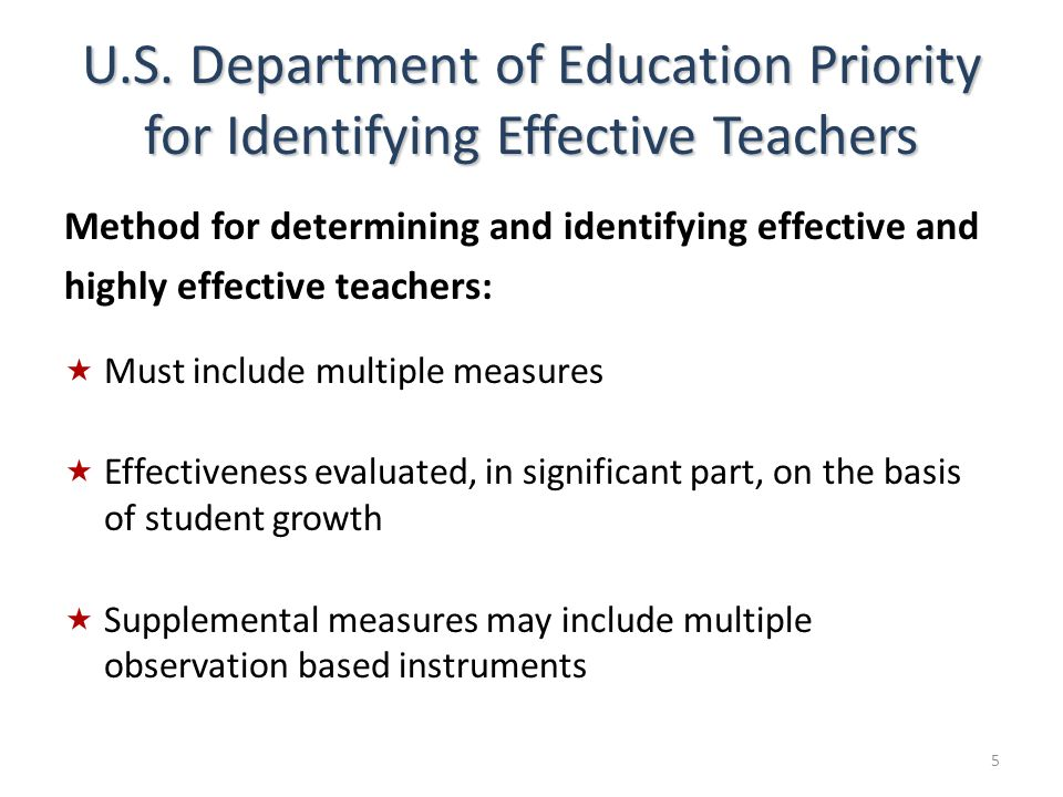 U.S. Department of Education Priority for Identifying Effective Teachers
