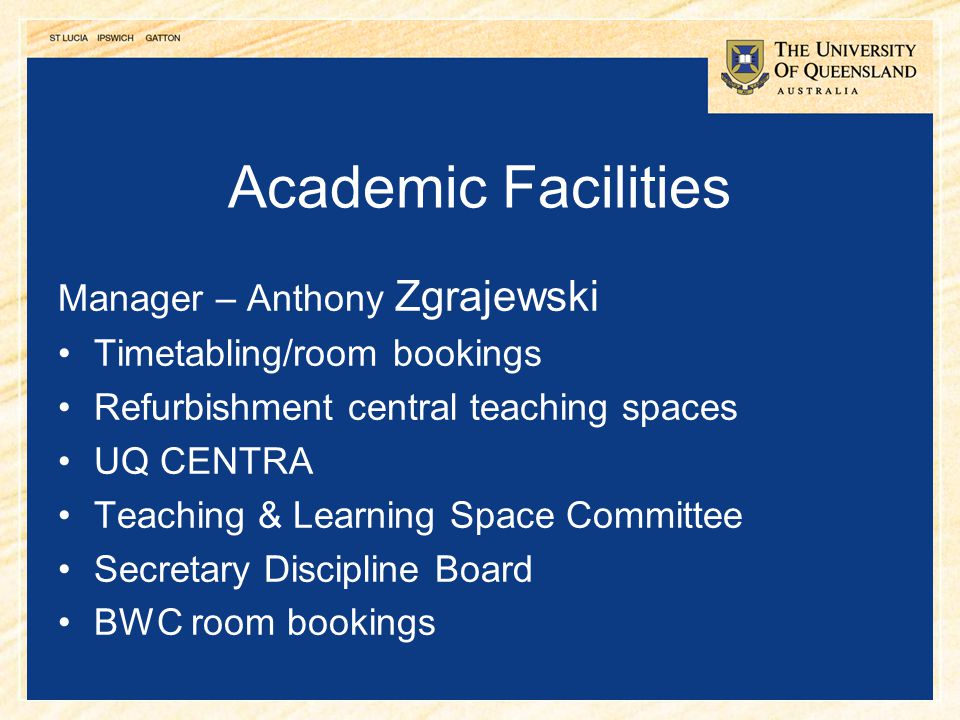 Academic Facilities Manager – Anthony Zgrajewski