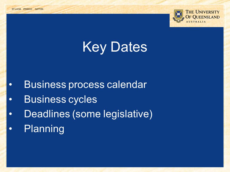 Key Dates Business process calendar Business cycles