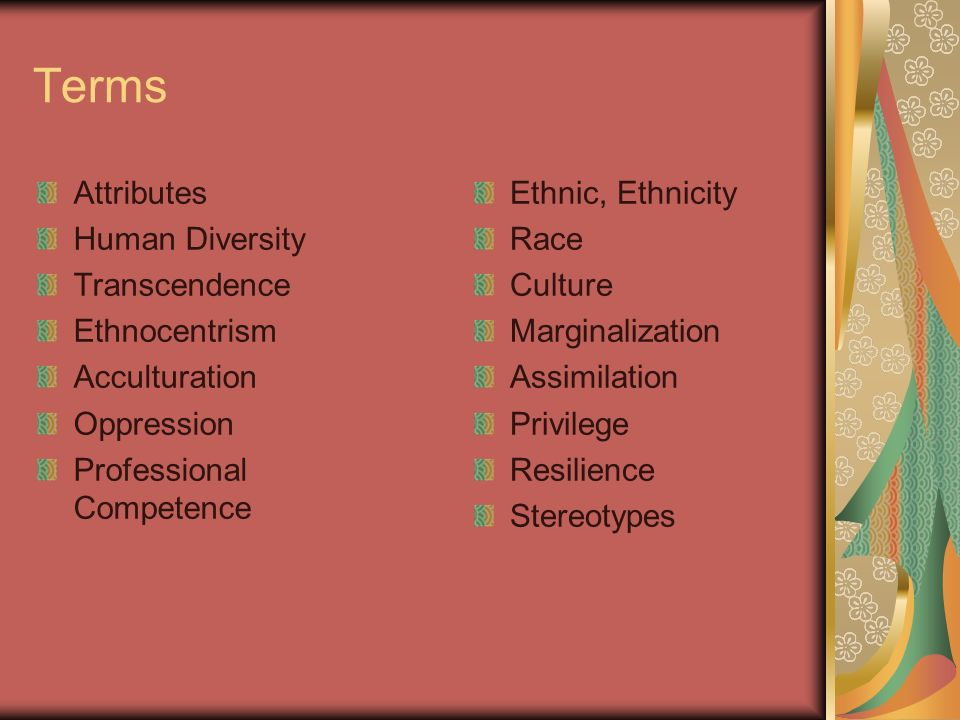 Terms Attributes Human Diversity Transcendence Ethnocentrism