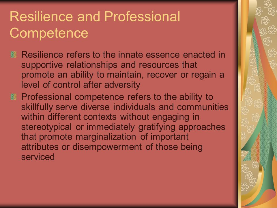 Resilience and Professional Competence