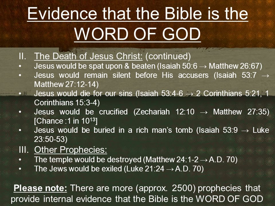 Evidence that the Bible is the WORD OF GOD