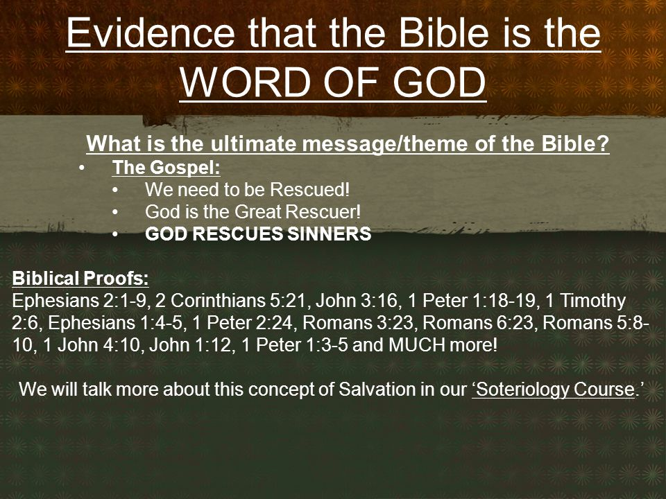 What is the ultimate message/theme of the Bible