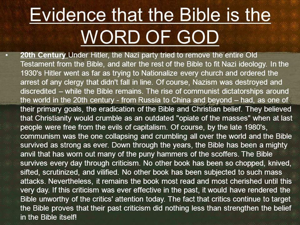 Evidence that the Bible is the