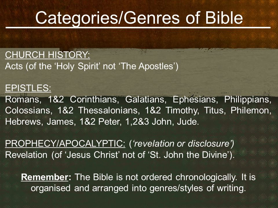 Categories/Genres of Bible