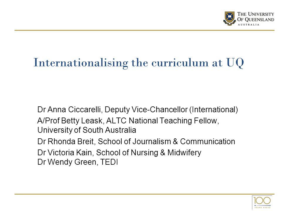 Internationalising the curriculum at UQ