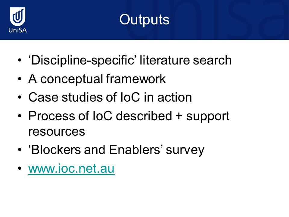 Outputs 'Discipline-specific' literature search A conceptual framework