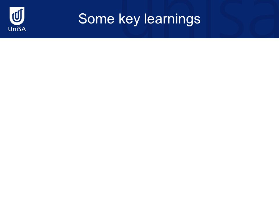 Some key learnings