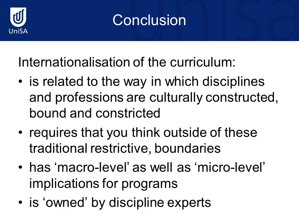 Conclusion Internationalisation of the curriculum: