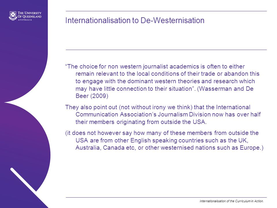 Internationalisation to De-Westernisation
