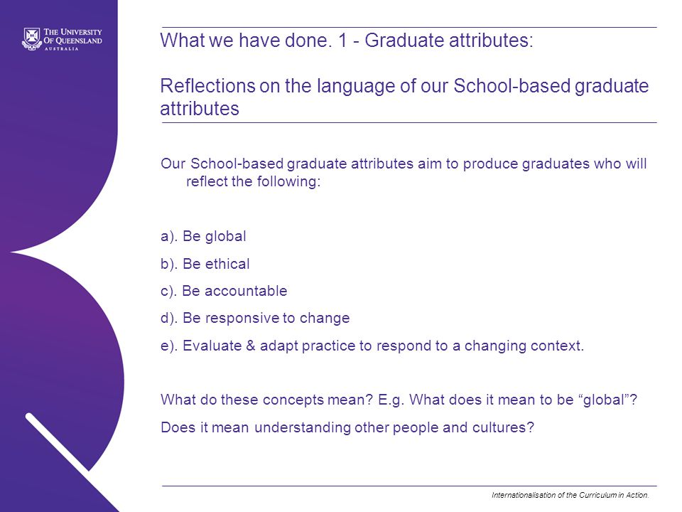 What we have done. 1 - Graduate attributes: Reflections on the language of our School-based graduate attributes