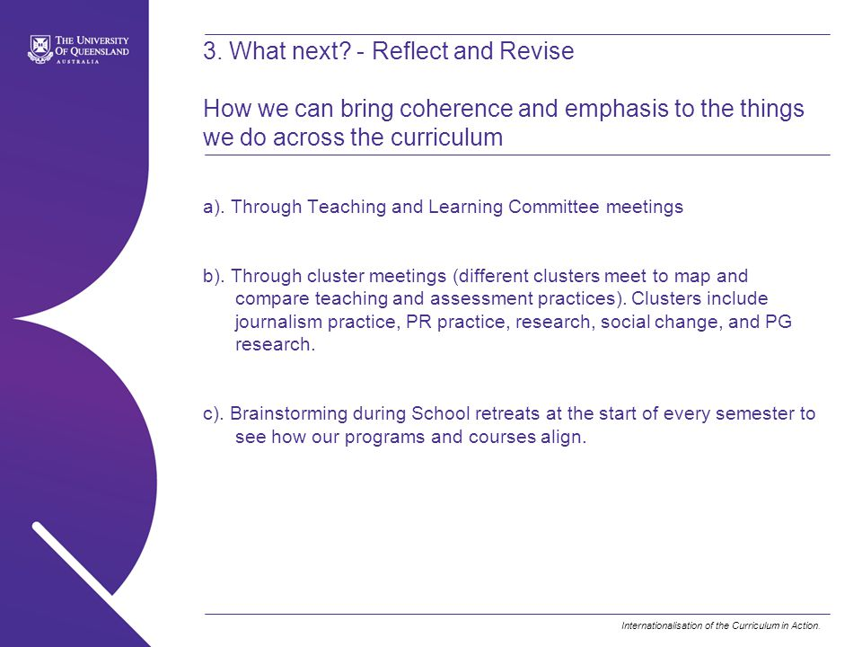 3. What next - Reflect and Revise How we can bring coherence and emphasis to the things we do across the curriculum