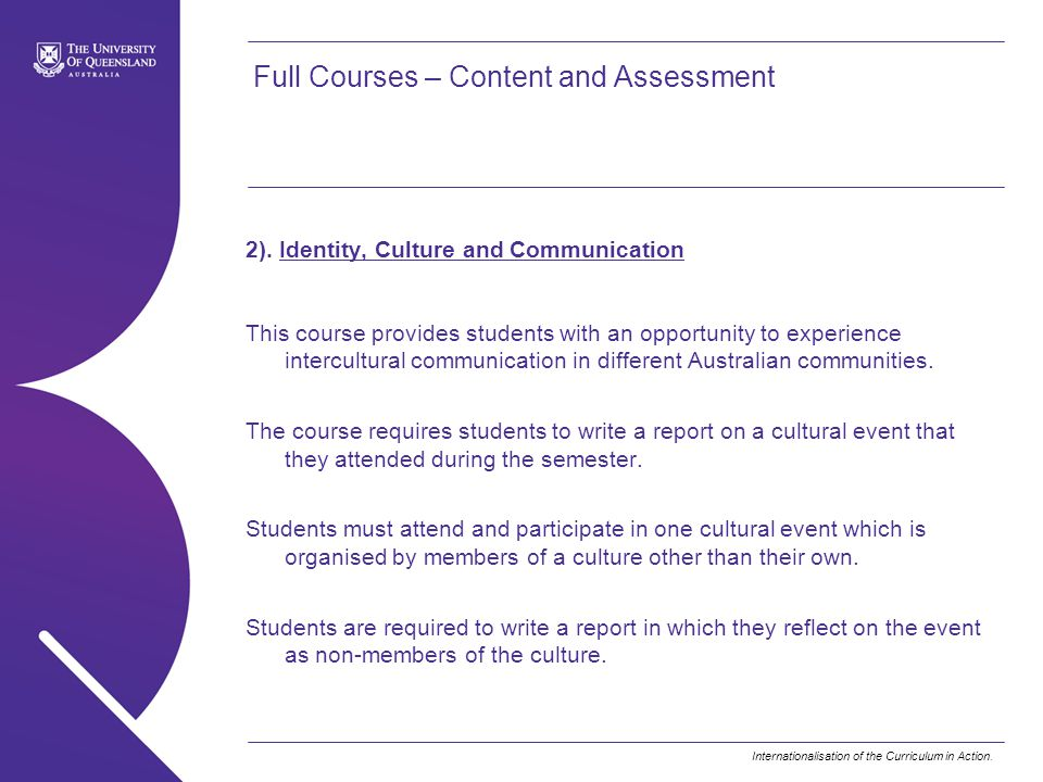 Full Courses – Content and Assessment