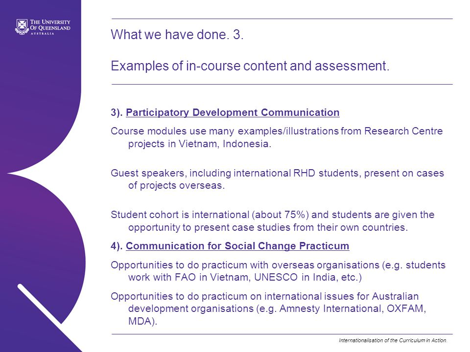 What we have done. 3. Examples of in-course content and assessment.