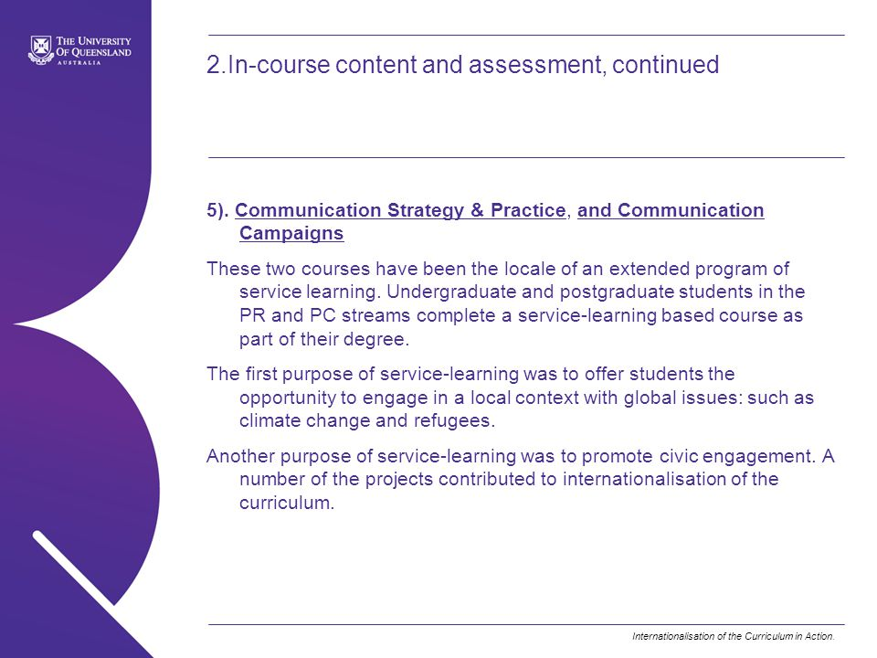 2.In-course content and assessment, continued