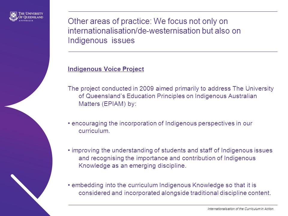 Other areas of practice: We focus not only on internationalisation/de-westernisation but also on Indigenous issues