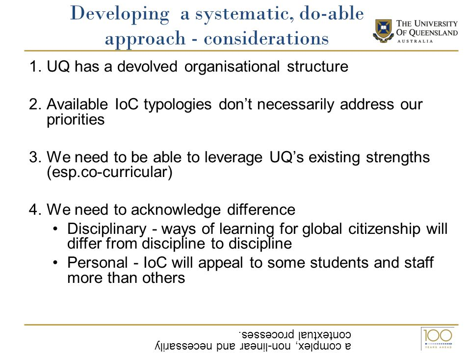 Developing a systematic, do-able approach - considerations