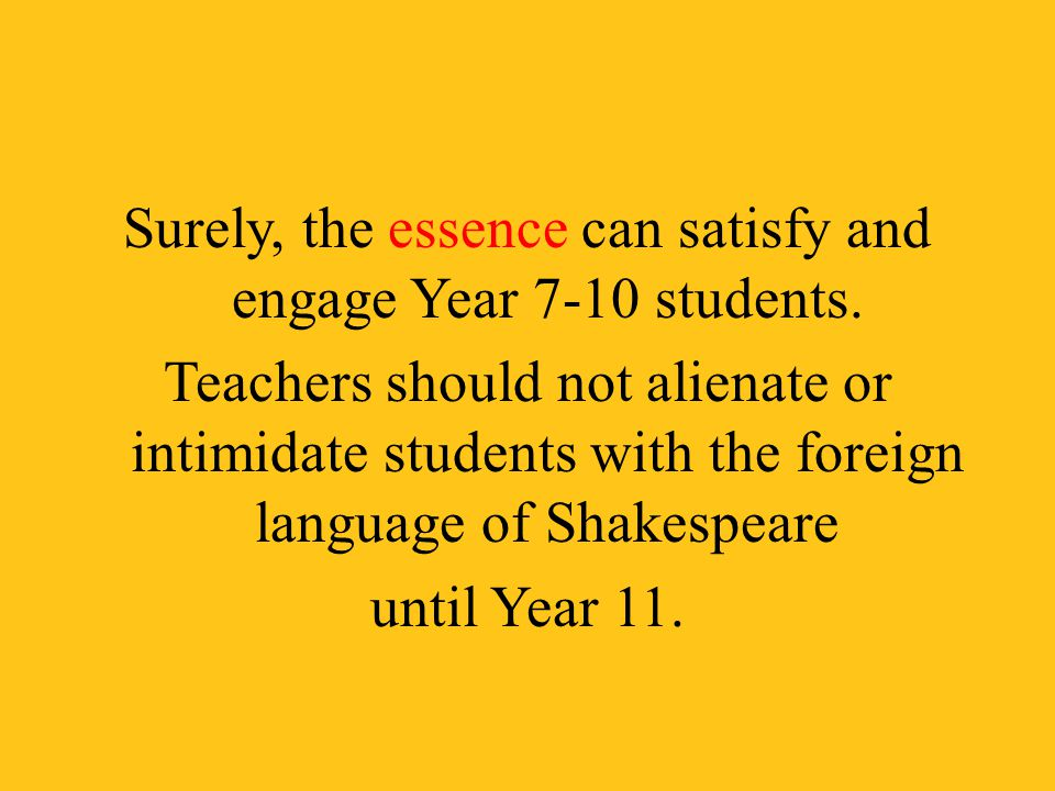 Surely, the essence can satisfy and engage Year 7-10 students