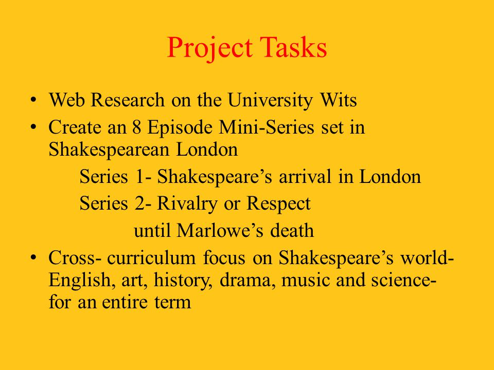 Project Tasks Web Research on the University Wits