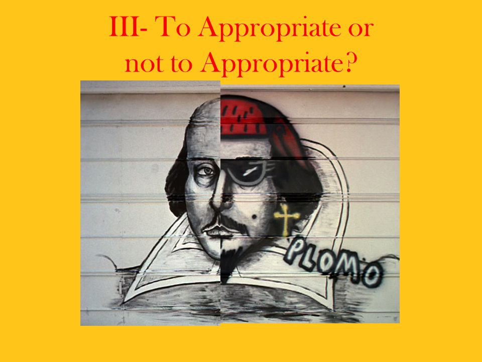 III- To Appropriate or not to Appropriate