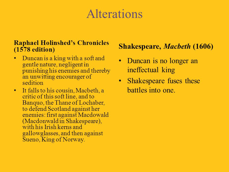 Alterations Shakespeare, Macbeth (1606)