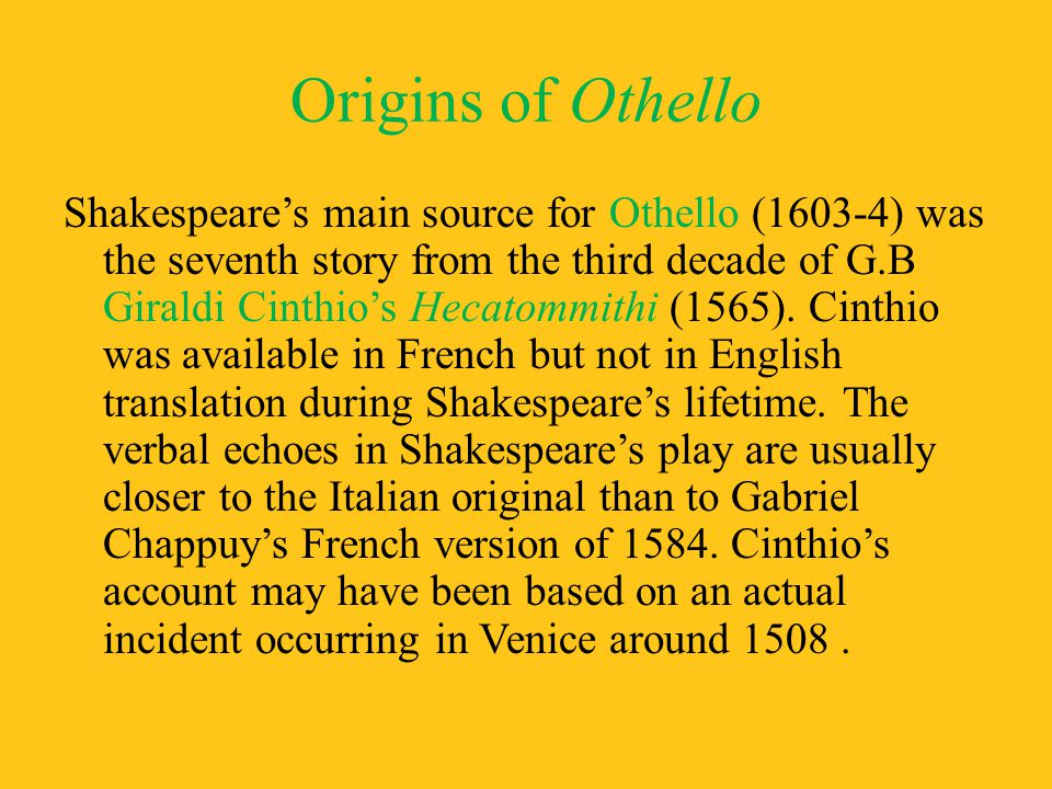 Origins of Othello