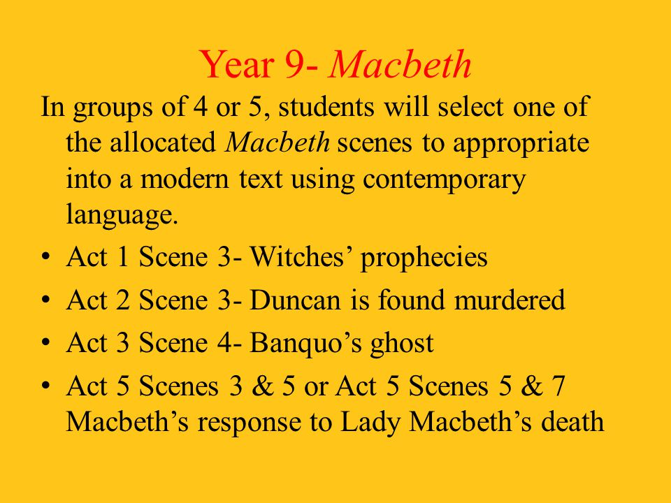 Year 9- Macbeth