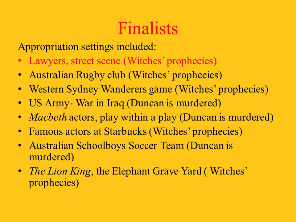 Finalists Appropriation settings included: