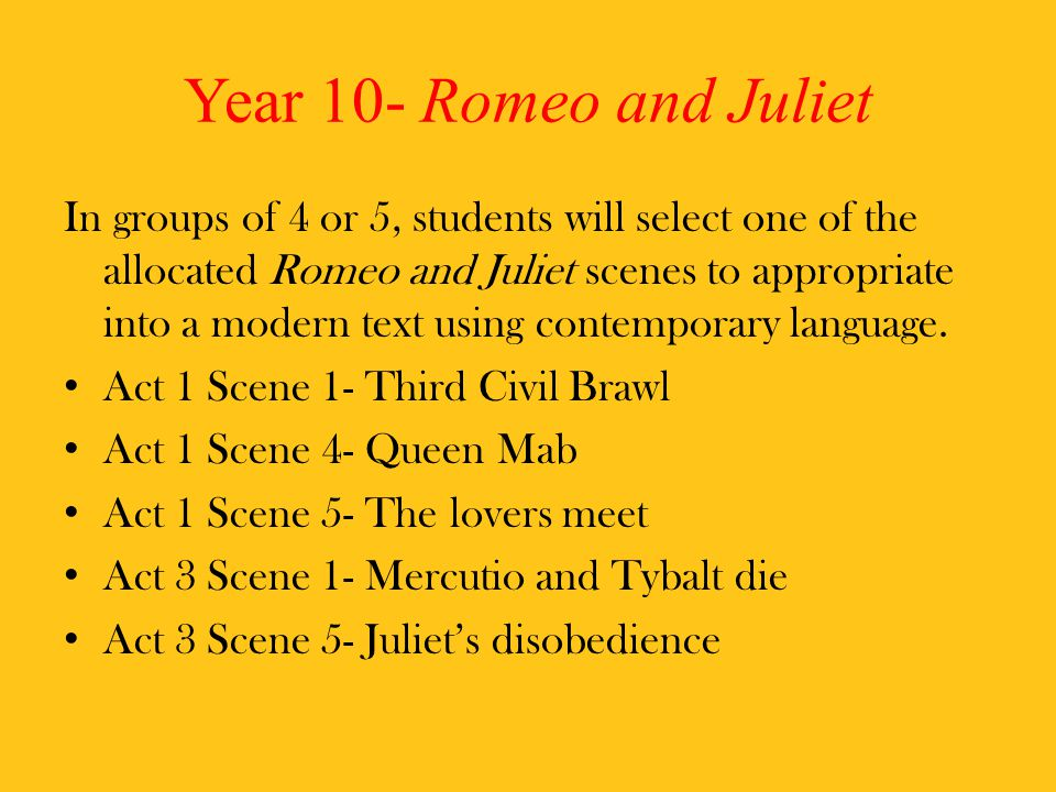 Year 10- Romeo and Juliet