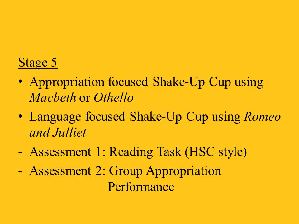 Stage 5 Appropriation focused Shake-Up Cup using Macbeth or Othello. Language focused Shake-Up Cup using Romeo and Julliet.