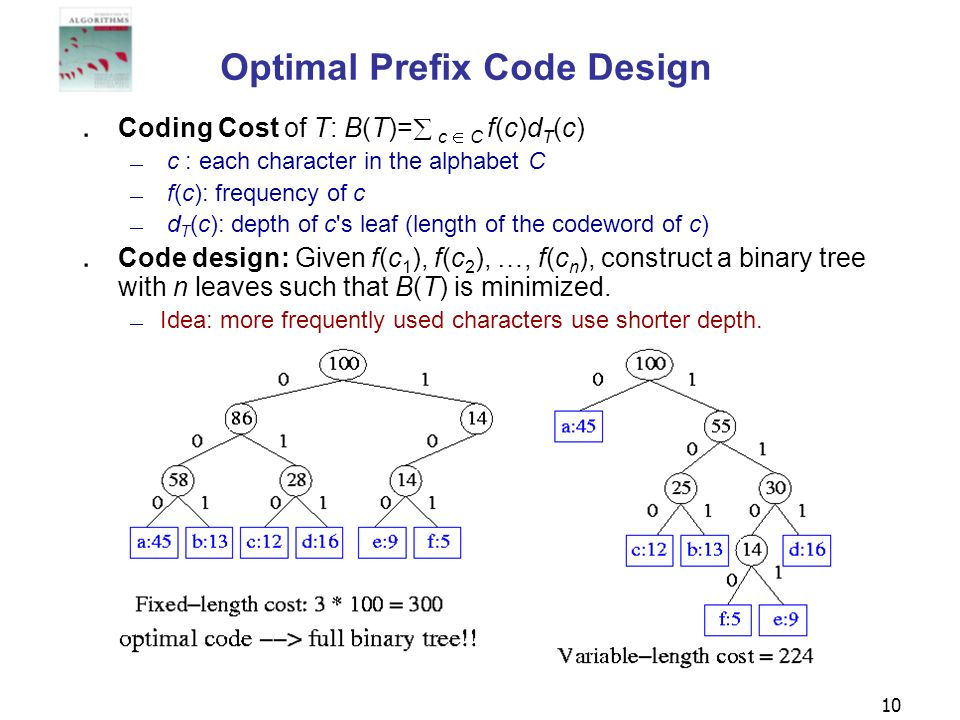 Optimal Prefix Code Design