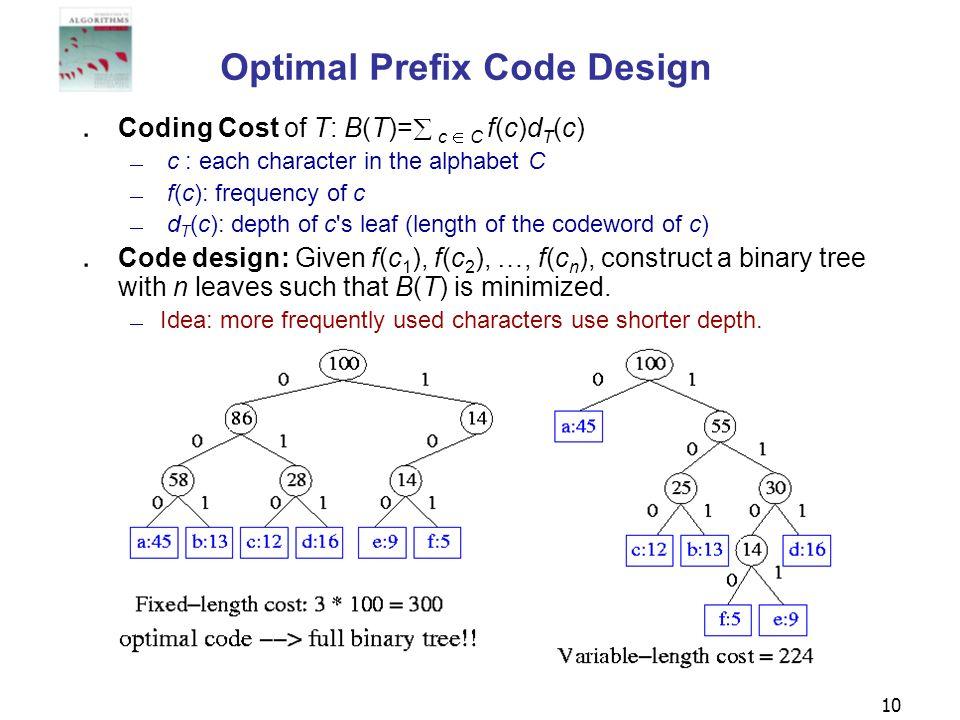 Optimal Prefix Code Design