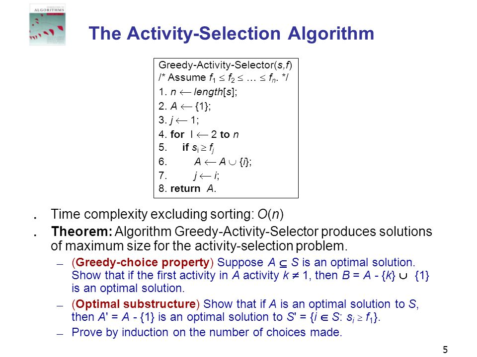 The Activity-Selection Algorithm