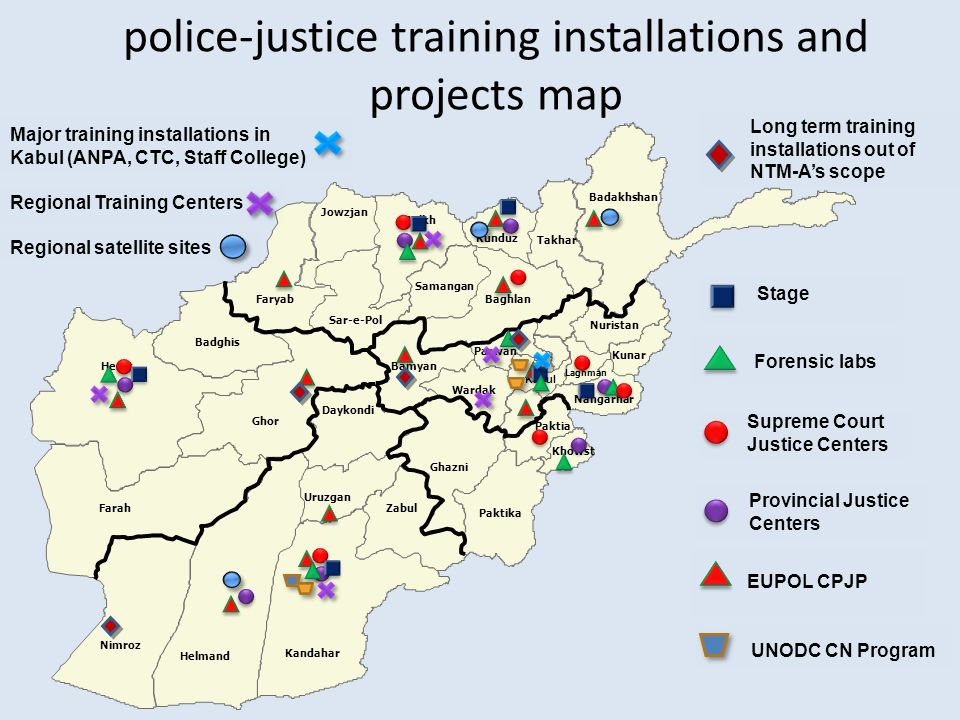 police-justice training installations and projects map