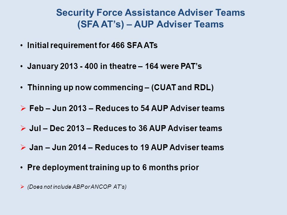 Security Force Assistance Adviser Teams (SFA AT's) – AUP Adviser Teams