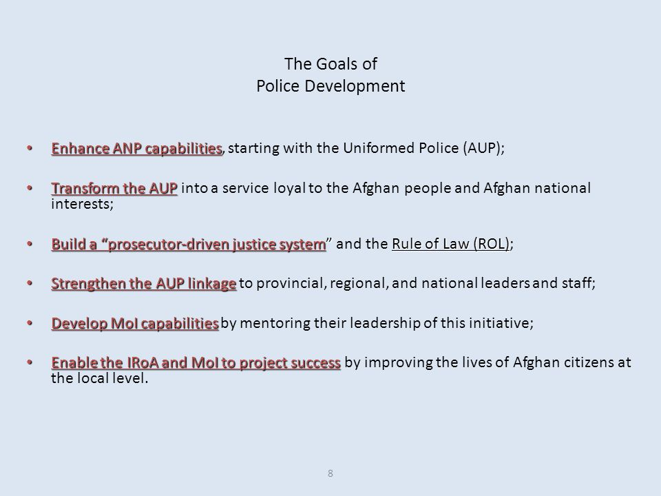 The Goals of Police Development