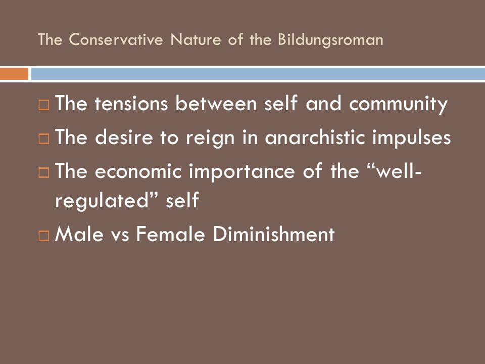 The Conservative Nature of the Bildungsroman