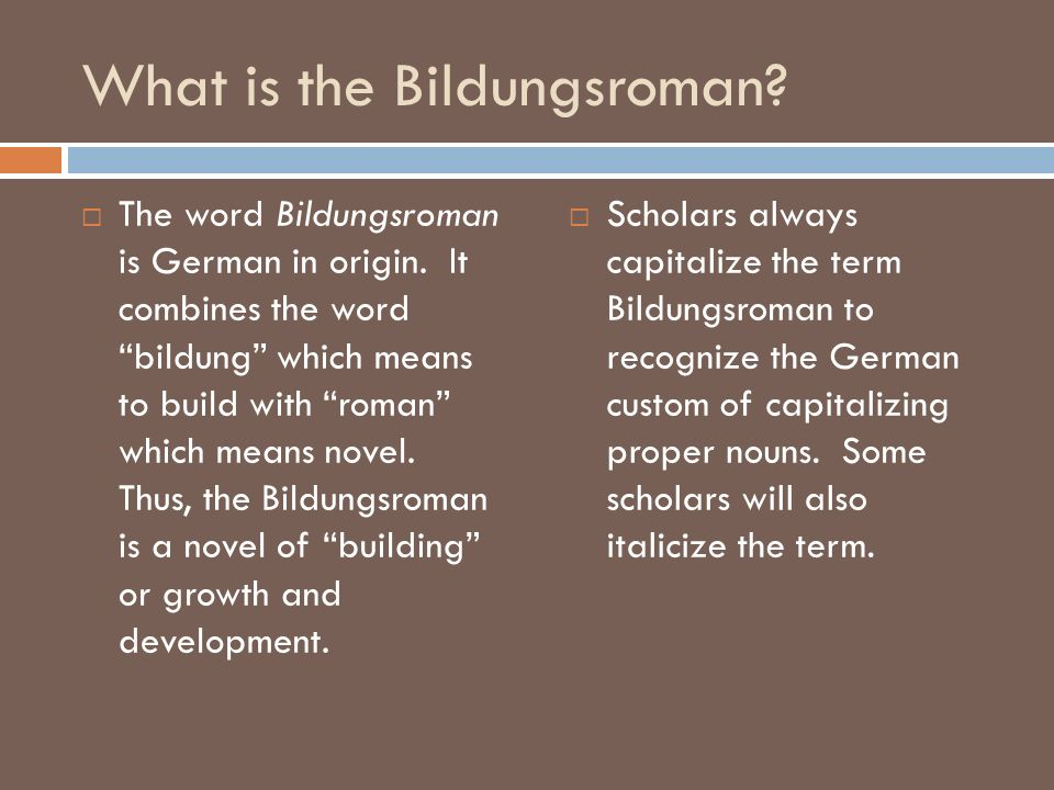 What is the Bildungsroman